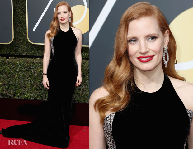 Jessica-Chastain-In-Armani-Couture-–-2018-Golden-Globe-Awards